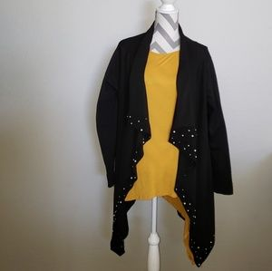 Cato XL black open front cardigan in black
